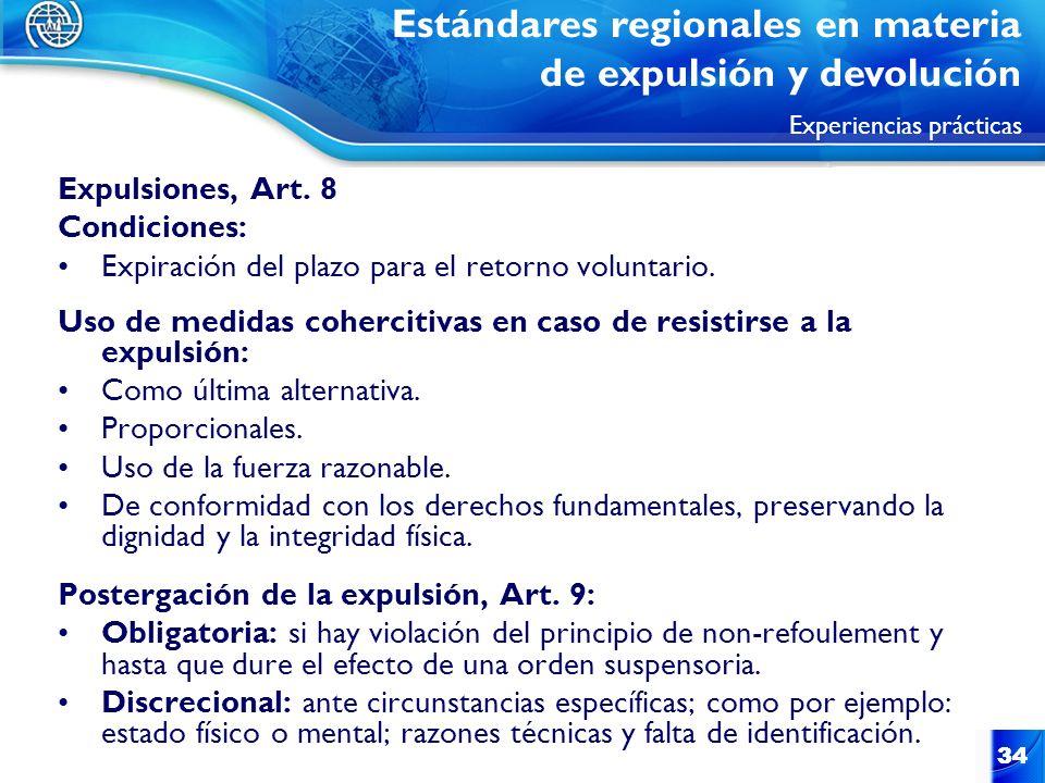 Estándares regionales en materia de expulsión y devolución Experiencias prácticas