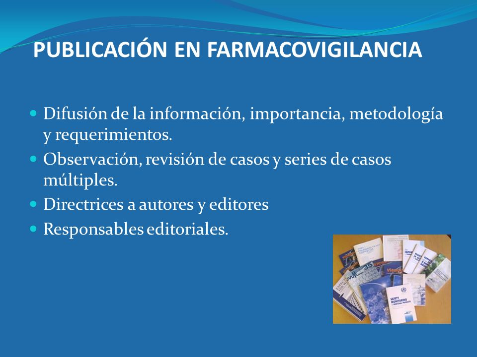 PUBLICACIÓN EN FARMACOVIGILANCIA