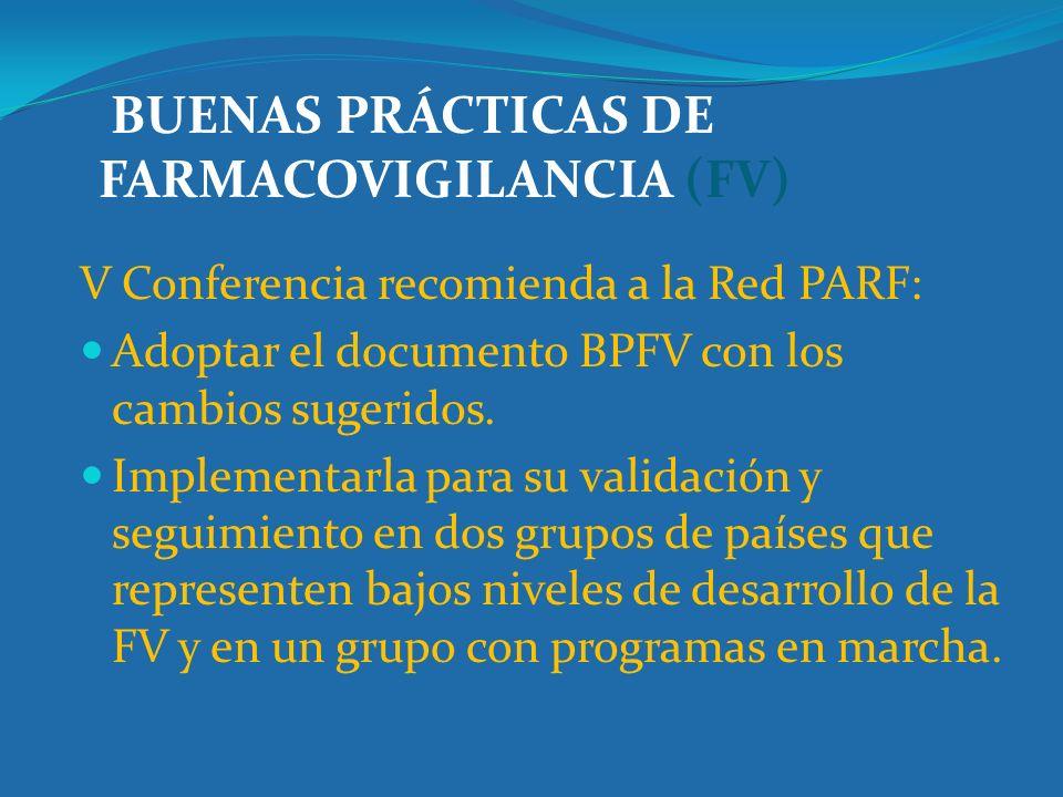 BUENAS PRÁCTICAS DE FARMACOVIGILANCIA (FV)