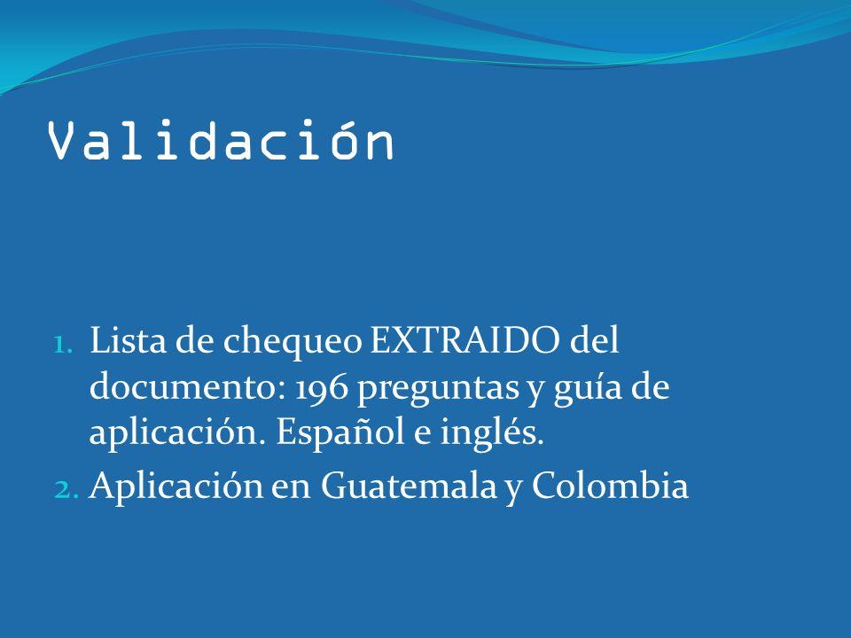 Validación Lista de chequeo EXTRAIDO del documento: 196 preguntas y guía de aplicación. Español e inglés.