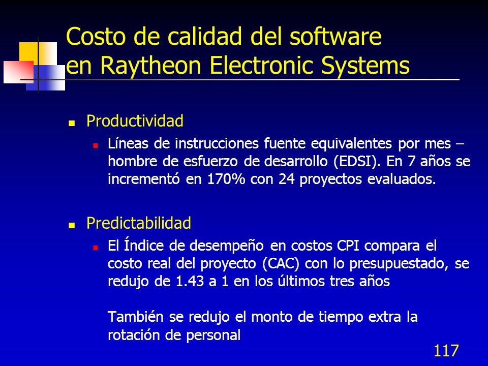 Costo de calidad del software en Raytheon Electronic Systems