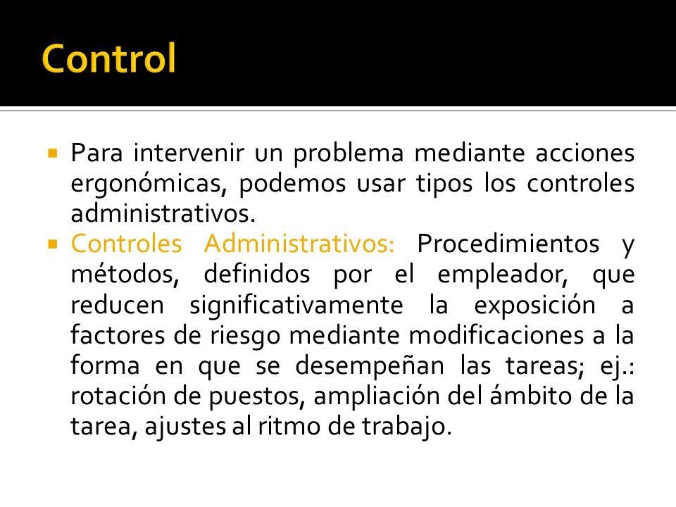 Control Para intervenir un problema mediante acciones ergonómicas, podemos usar tipos los controles administrativos.