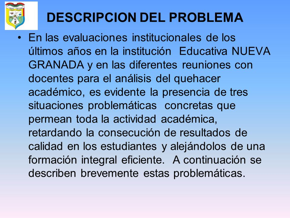 DESCRIPCION DEL PROBLEMA