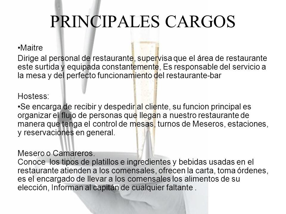 PRINCIPALES CARGOS Maitre