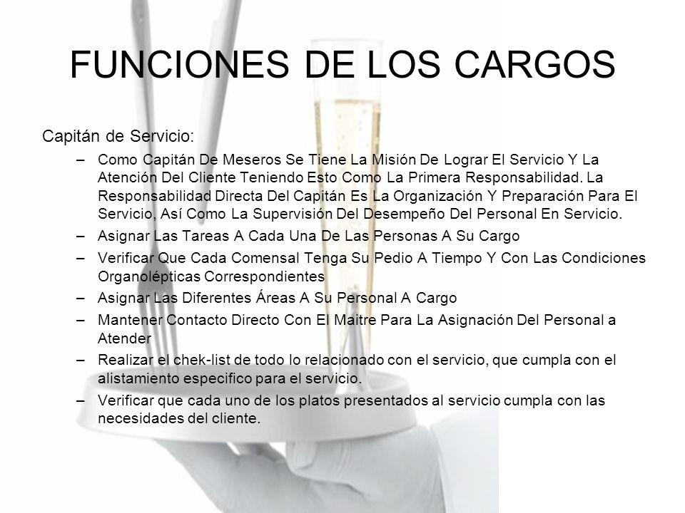 FUNCIONES DE LOS CARGOS