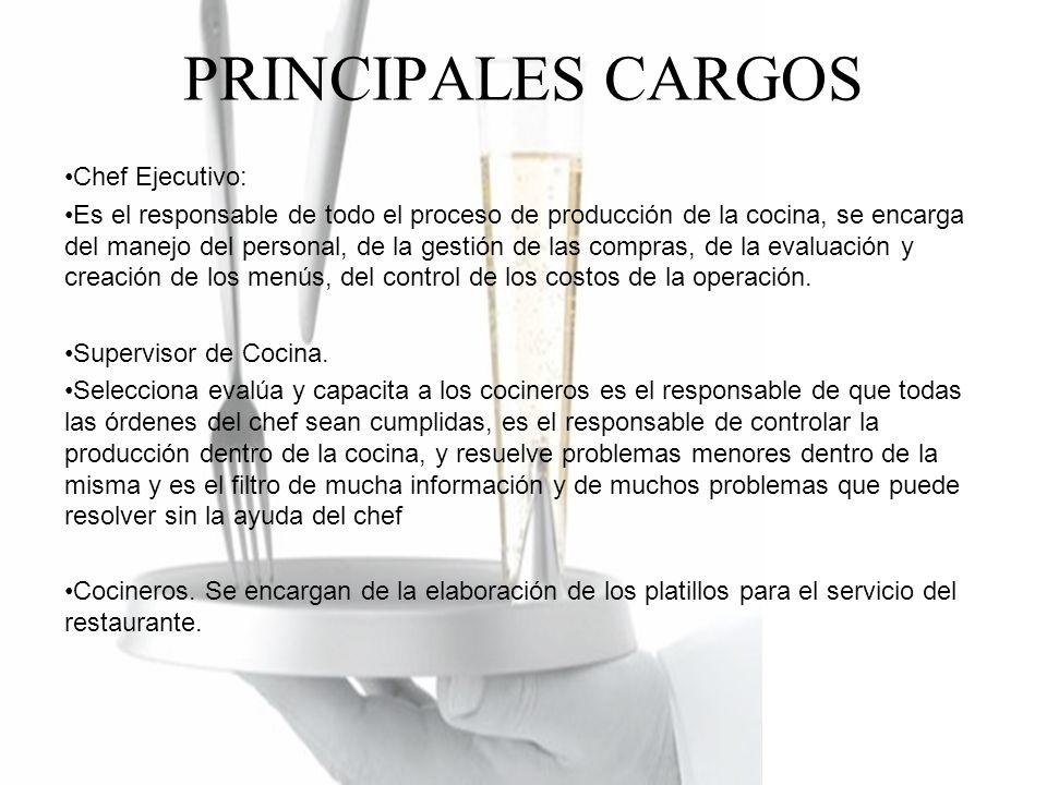 PRINCIPALES CARGOS Chef Ejecutivo: