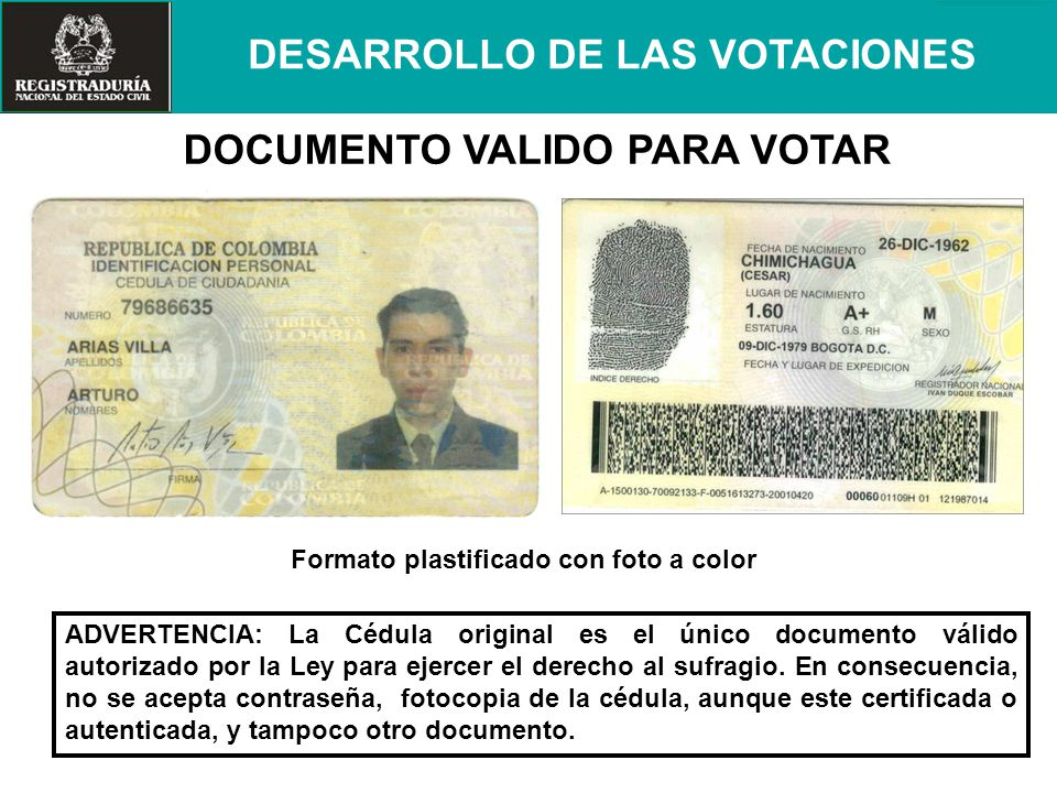 DOCUMENTO VALIDO PARA VOTAR Formato plastificado con foto a color