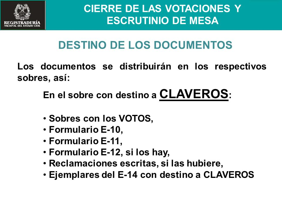 DESTINO DE LOS DOCUMENTOS
