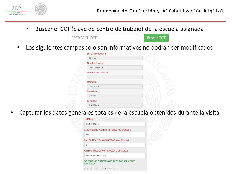 Programa de inclusi n y alfabetizaci n digital for Cct de la escuela