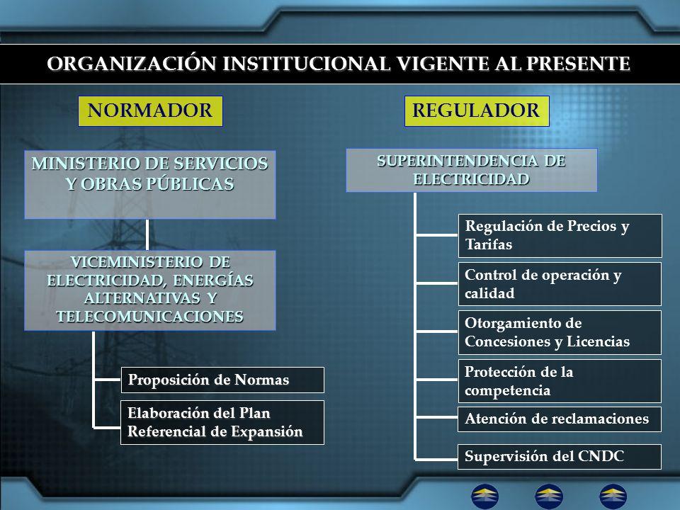 ORGANIZACIÓN INSTITUCIONAL VIGENTE AL PRESENTE