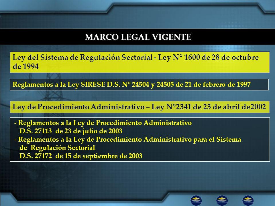 MARCO LEGAL VIGENTE Ley del Sistema de Regulación Sectorial - Ley N° 1600 de 28 de octubre de 1994.