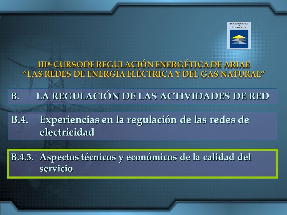 B.4. Experiencias en la regulación de las redes de electricidad
