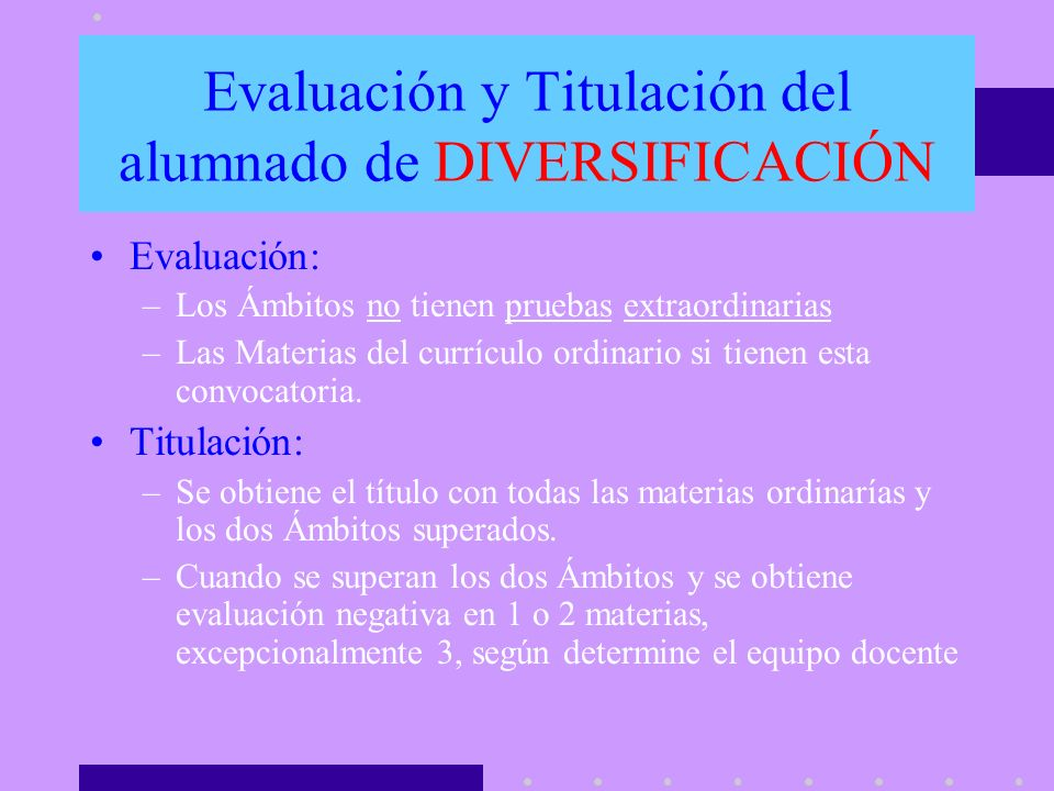 Evaluación y Titulación del alumnado de DIVERSIFICACIÓN
