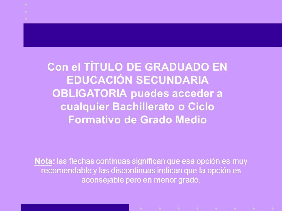 Con el TÍTULO DE GRADUADO EN EDUCACIÓN SECUNDARIA OBLIGATORIA puedes acceder a cualquier Bachillerato o Ciclo Formativo de Grado Medio
