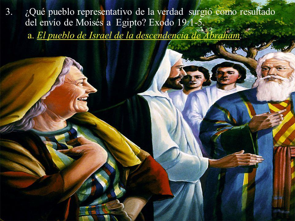 ¿Qué pueblo representativo de la verdad surgió como resultado del envío de Moisés a Egipto Exodo 19:1-5.