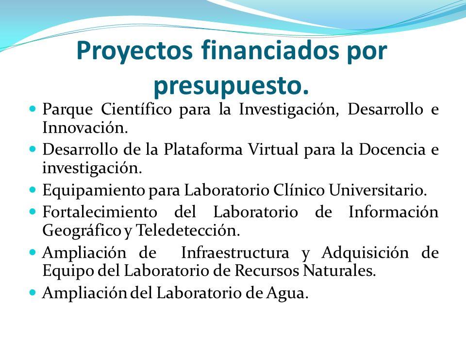 Proyectos financiados por presupuesto.