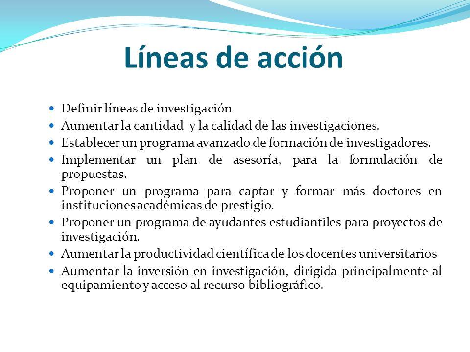 Líneas de acción Definir líneas de investigación
