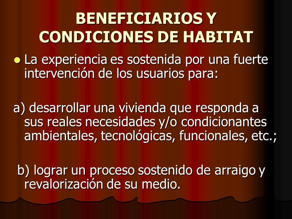 BENEFICIARIOS Y CONDICIONES DE HABITAT