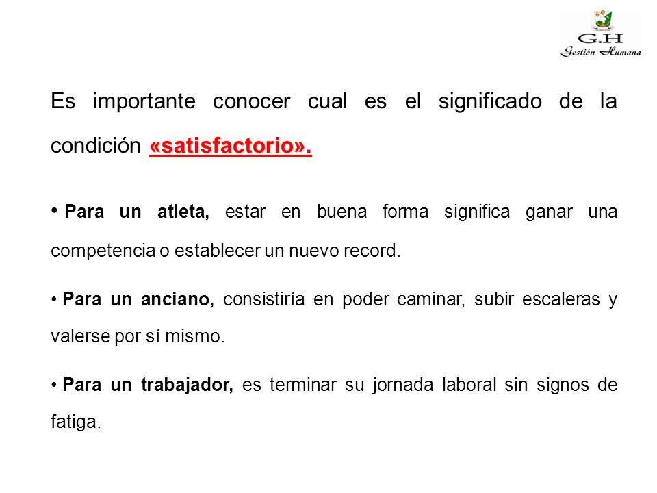 Es importante conocer cual es el significado de la condición «satisfactorio».
