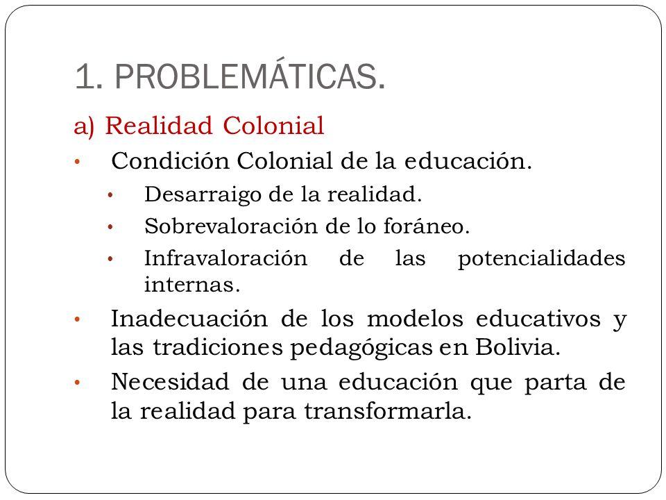 1. PROBLEMÁTICAS. a) Realidad Colonial
