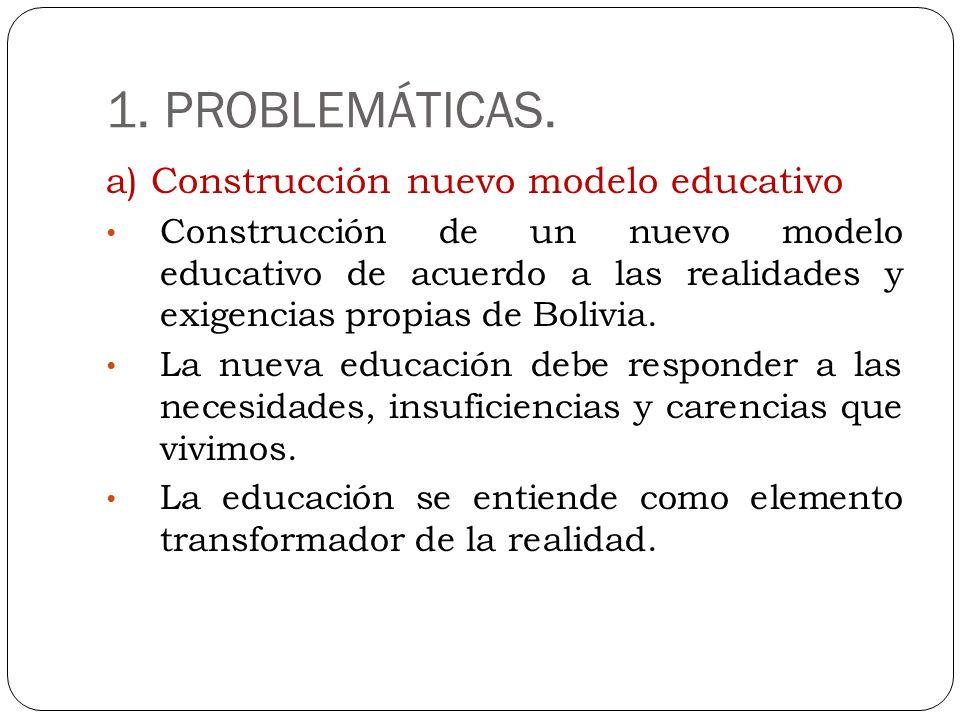 1. PROBLEMÁTICAS. a) Construcción nuevo modelo educativo