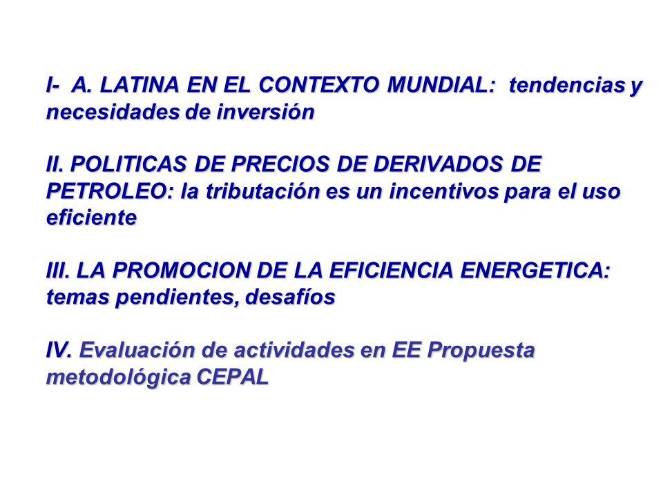 I- A. LATINA EN EL CONTEXTO MUNDIAL: tendencias y necesidades de inversión II.