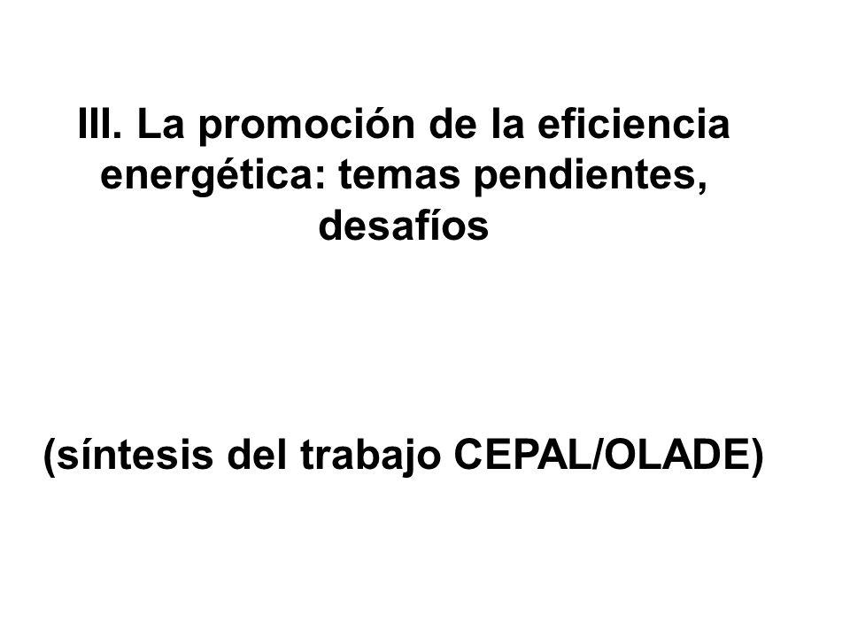 (síntesis del trabajo CEPAL/OLADE)