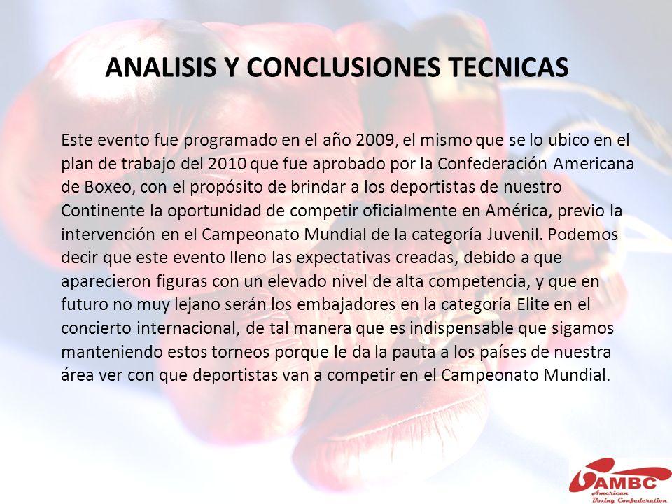 ANALISIS Y CONCLUSIONES TECNICAS