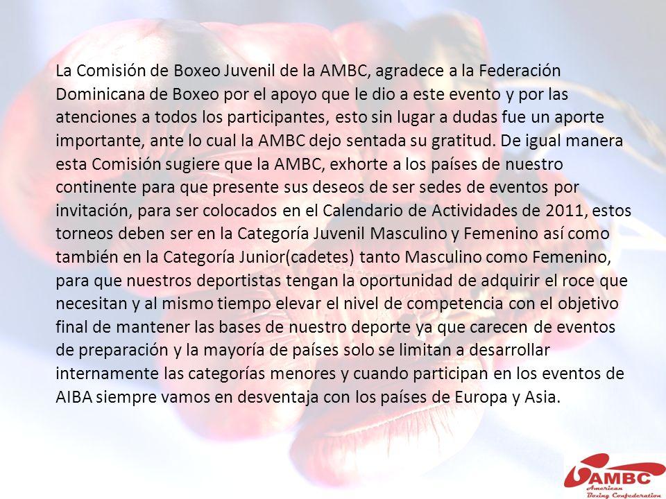 La Comisión de Boxeo Juvenil de la AMBC, agradece a la Federación Dominicana de Boxeo por el apoyo que le dio a este evento y por las atenciones a todos los participantes, esto sin lugar a dudas fue un aporte importante, ante lo cual la AMBC dejo sentada su gratitud.