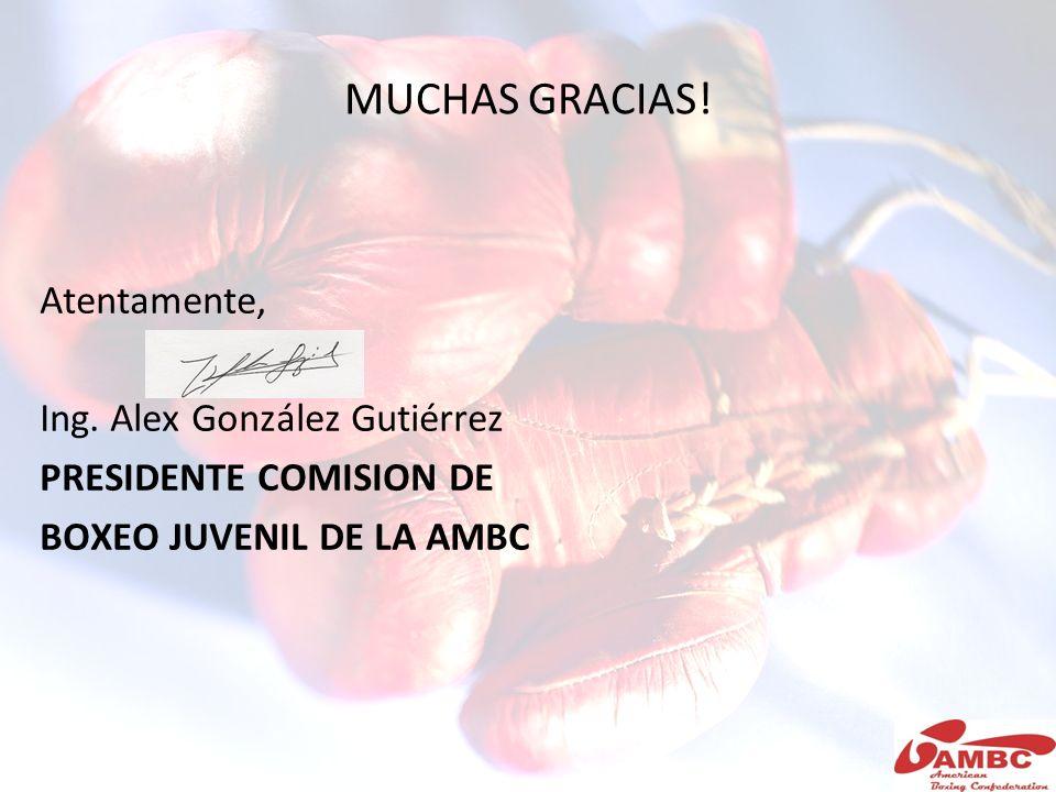 MUCHAS GRACIAS! Atentamente, Ing. Alex González Gutiérrez