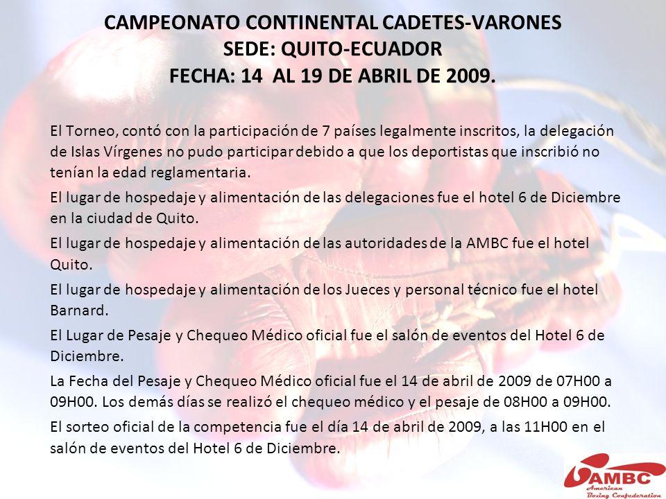 CAMPEONATO CONTINENTAL CADETES-VARONES SEDE: QUITO-ECUADOR FECHA: 14 AL 19 DE ABRIL DE 2009.