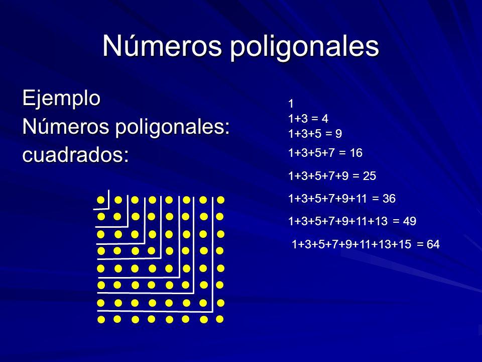 Números poligonales Ejemplo Números poligonales: cuadrados: 1 1+3 = 4