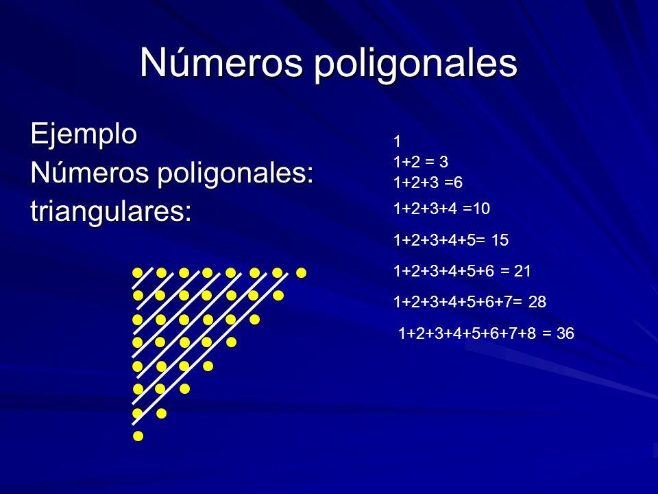 Números poligonales Ejemplo Números poligonales: triangulares: 1