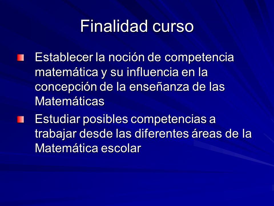 Finalidad cursoEstablecer la noción de competencia matemática y su influencia en la concepción de la enseñanza de las Matemáticas.