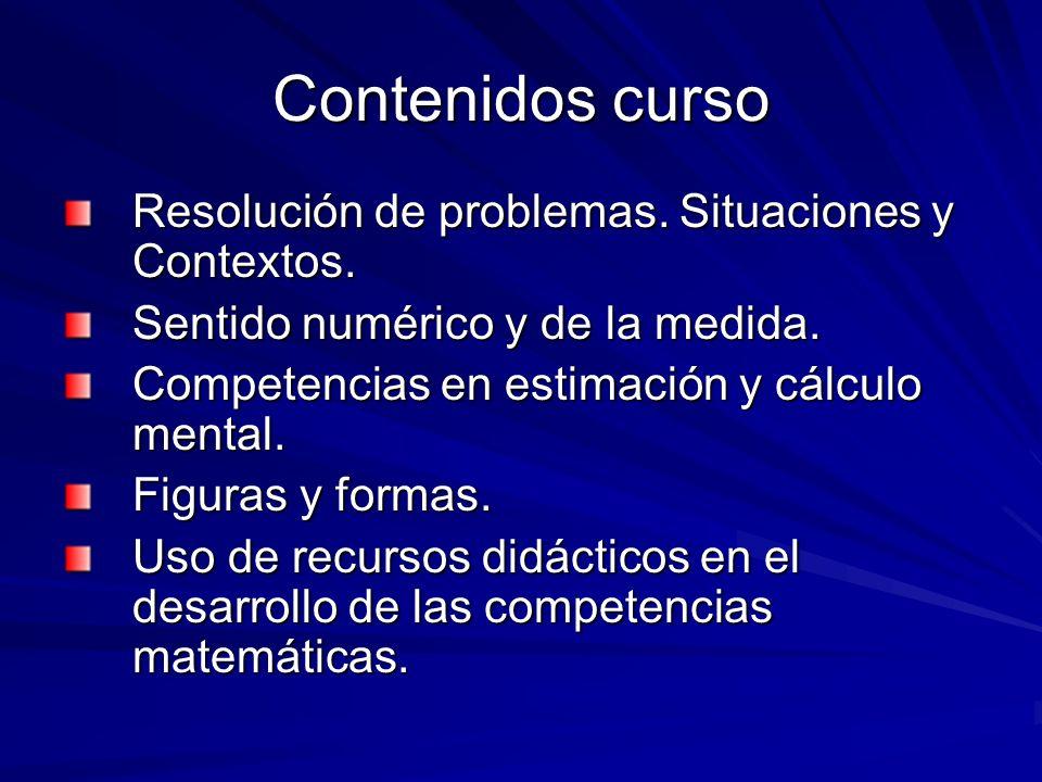 Contenidos curso Resolución de problemas. Situaciones y Contextos.