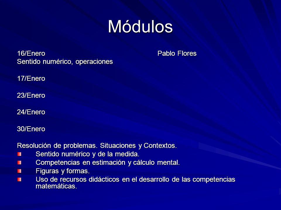 Módulos 16/Enero Pablo Flores Sentido numérico, operaciones 17/Enero