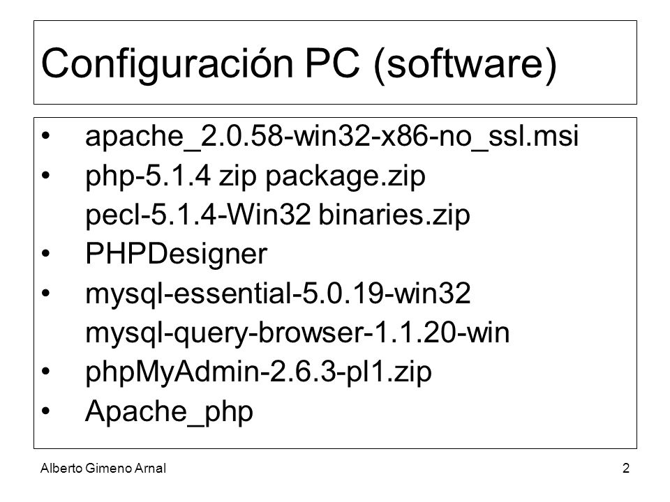 Configuración PC (software)
