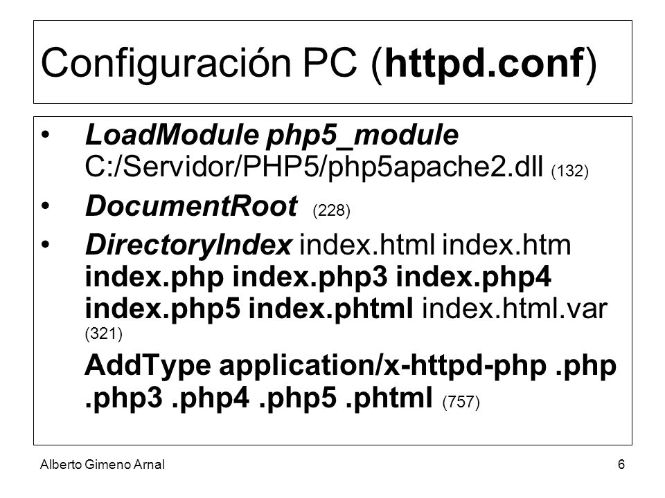 Configuración PC (httpd.conf)