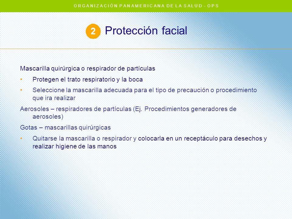 Protección facial Mascarilla quirúrgica o respirador de partículas