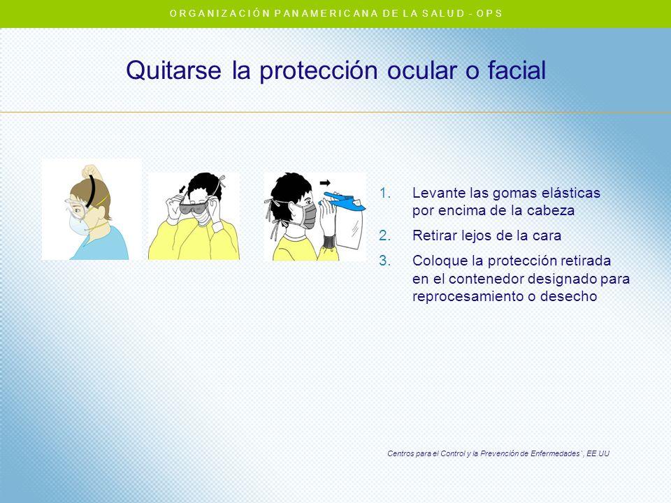 Quitarse la protección ocular o facial