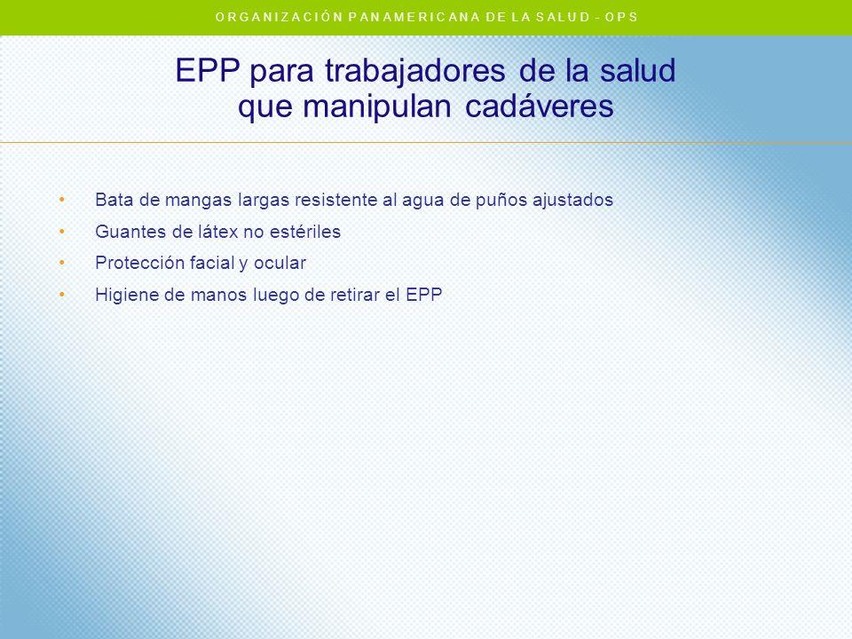 EPP para trabajadores de la salud que manipulan cadáveres