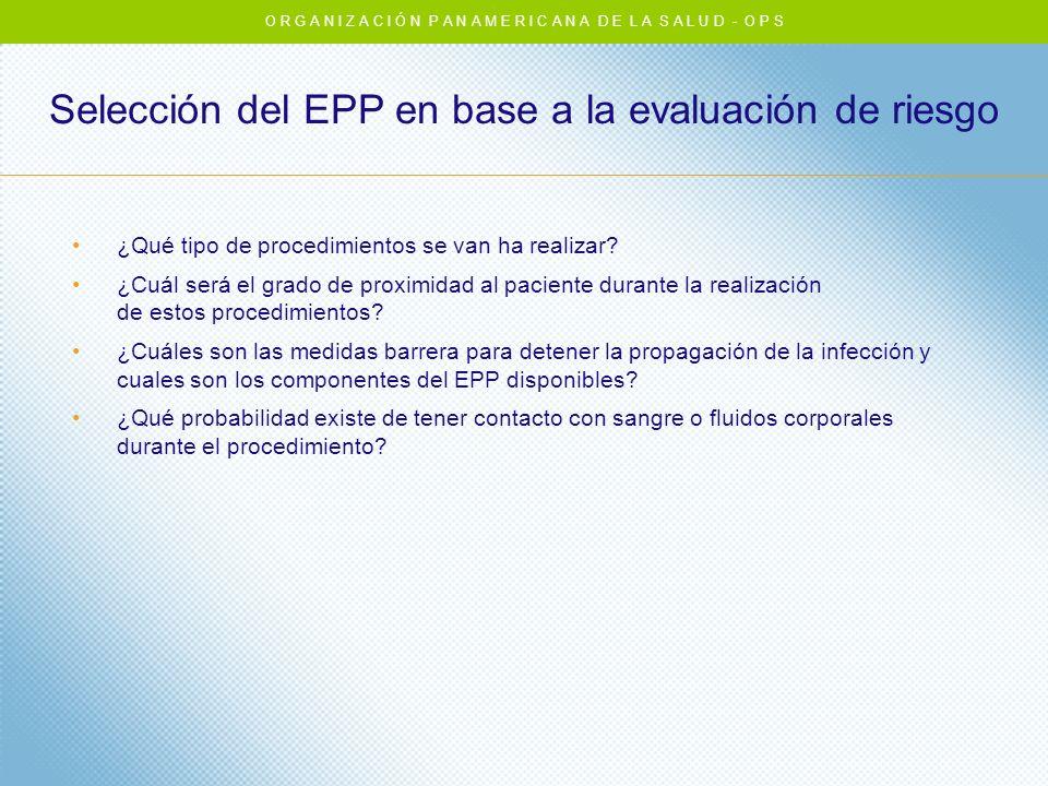Selección del EPP en base a la evaluación de riesgo