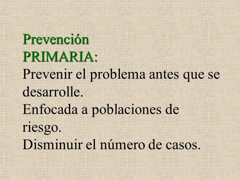 Prevención PRIMARIA: Prevenir el problema antes que se desarrolle