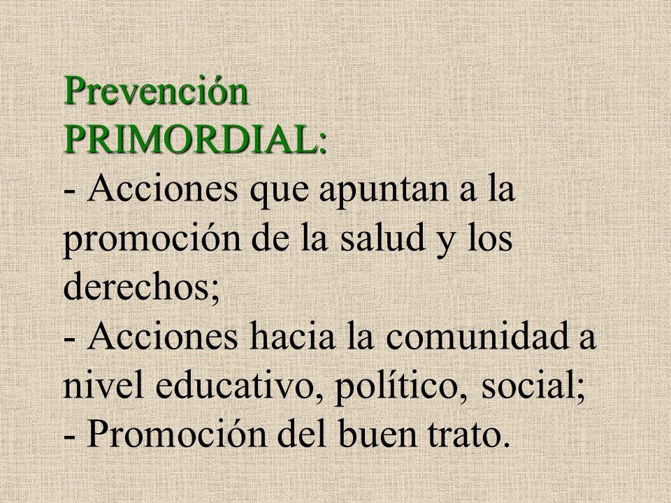 Prevención PRIMORDIAL: - Acciones que apuntan a la promoción de la salud y los derechos; - Acciones hacia la comunidad a nivel educativo, político, social; - Promoción del buen trato.