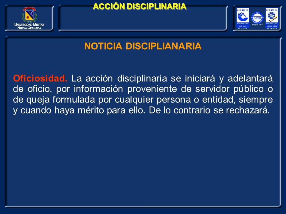NOTICIA DISCIPLIANARIA