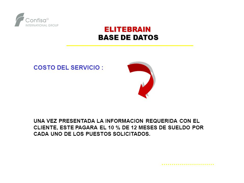 ELITEBRAIN BASE DE DATOS COSTO DEL SERVICIO :