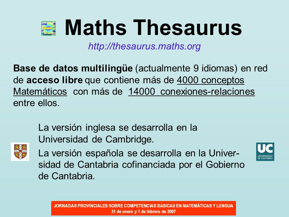 Maths Thesaurus http://thesaurus.maths.org