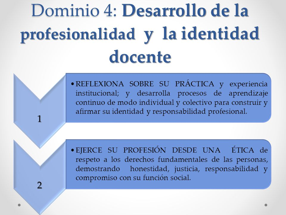 Dominio 4: Desarrollo de la profesionalidad y la identidad docente