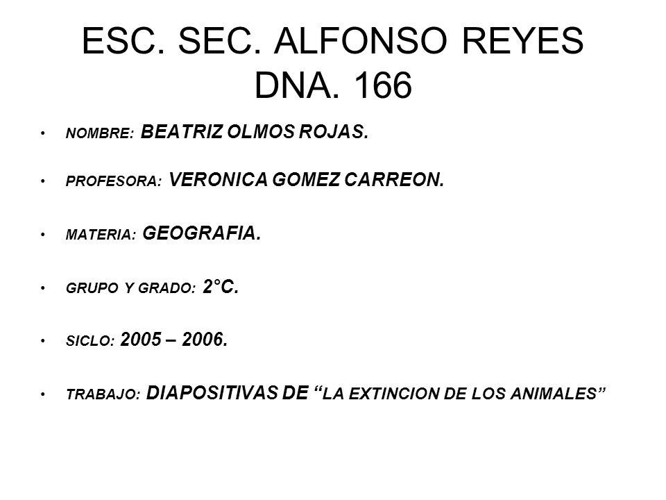 ESC. SEC. ALFONSO REYES DNA. 166