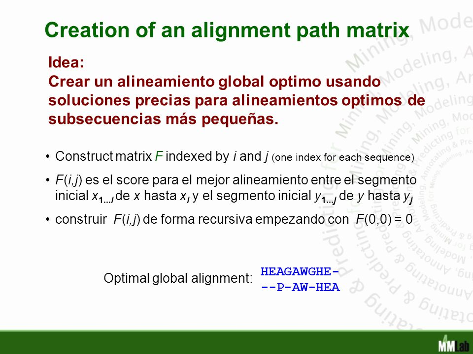 Creation of an alignment path matrix